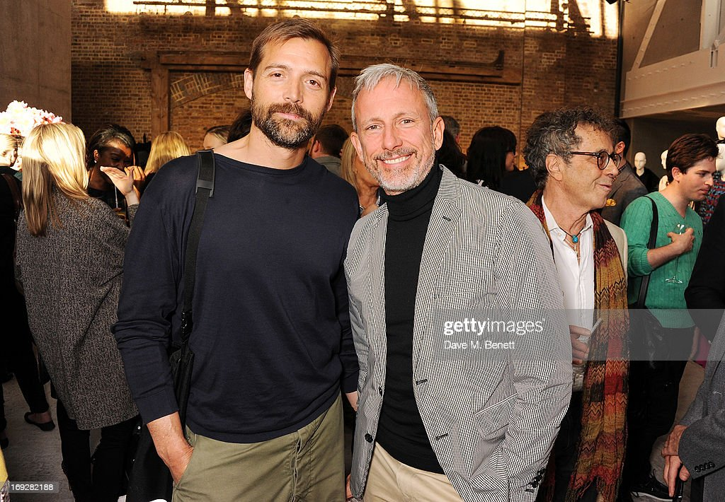 Patrick Grant (L) and Patrick Cox attends the J.Crew concept store to launch their partnership with Central Saint Martins College Of Arts And Design at The Stables on May 22, 2013 in London, England.