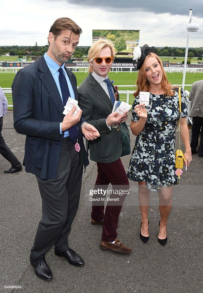 Patrick Grant, Henry Conway and Sarah-Jane Mee attend the Sandown Park Racecourse Ladies' Day STYLE AWARD Hosted by Rosie Fortescue at Sandown Park on July 1, 2016 in Esher, England.