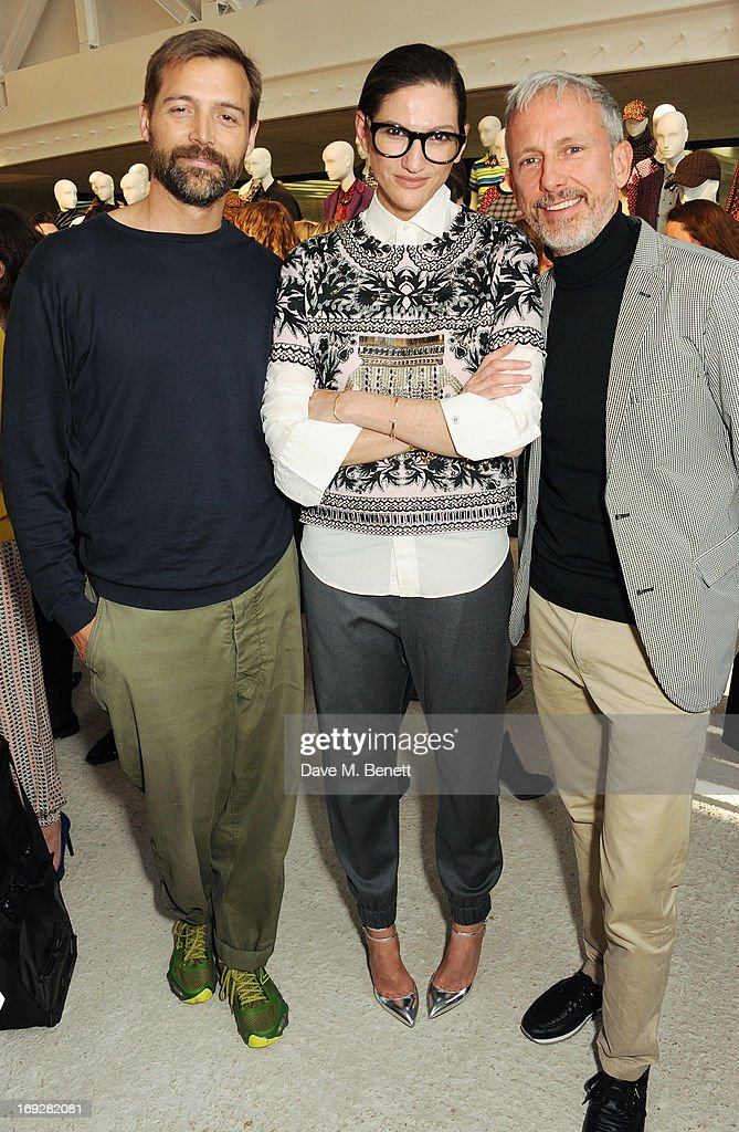 Patrick Grant, Jenna Lyons and Patrick Cox attend the J.Crew concept store to launch their partnership with Central Saint Martins College Of Arts And Design at The Stables on May 22, 2013 in London, England.
