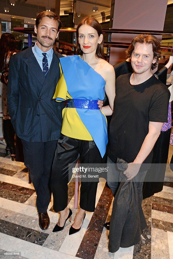 Patrick Grant Roksanda Ilincic and Christopher Kane attend the opening of Roksanda on Mount Street on June 10 2014 in London England