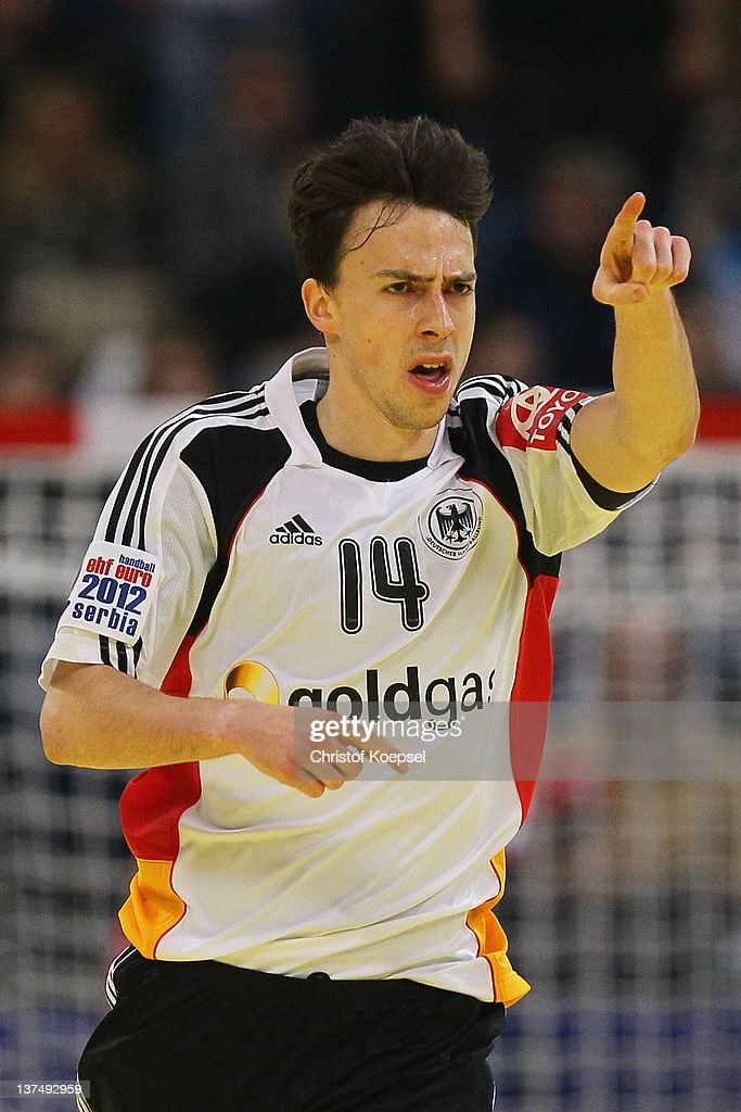 Patrick Groetzki of Germany celebrates a goal during the Men's European Handball Championship second round group one match between Serbia anhd Germany at Beogradska Arena on January 21, 2012 in Belgrade, Serbia.