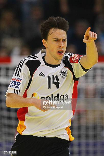 Patrick Groetzki of Germany celebrates a goal during the Men's European Handball Championship second round group one match between Serbia anhd...