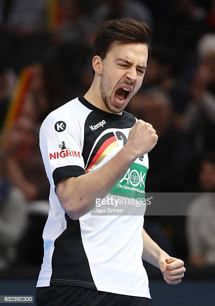 Patrick Groetzki of Germany celebrates during the 25th IHF Men's World Championship 2017 Round of 16 match between Germany and Qatar at Accorhotels...