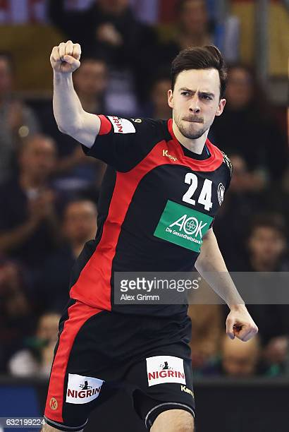 Patrick Groetzki of Germany celebrates throwing a goal during the 25th IHF Men's World Championship 2017 match between Germany and Croatia at...
