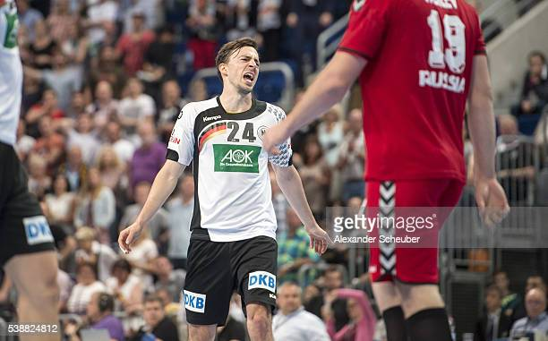 Patrick Groetzki of Germany is disappointed during the International Handball Friendly between Germany and Russia at SAP Arena on June 8 2016 in...