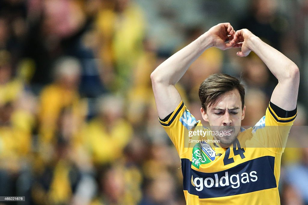 <a gi-track='captionPersonalityLinkClicked' href=/galleries/search?phrase=Patrick+Groetzki&family=editorial&specificpeople=5342990 ng-click='$event.stopPropagation()'>Patrick Groetzki</a> of Rhein-Neckar Loewen reacts during the DHB cup quarter final match between Rhein-Neckar Loewen and THW Kiel at SAP Arena on March 4, 2015 in Mannheim, Germany.