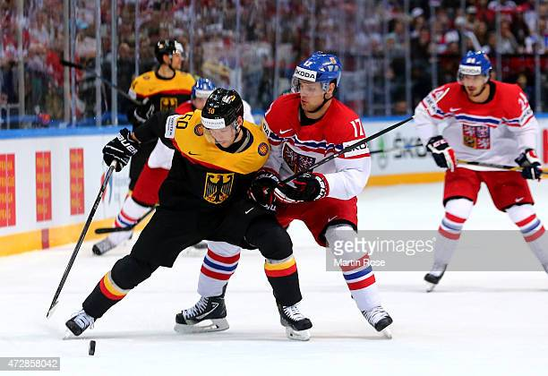 Patrick Hager of Germany and Vladimir Sobotka of Czech Republic battle for the puck during the IIHF World Championship group A match between Germany...
