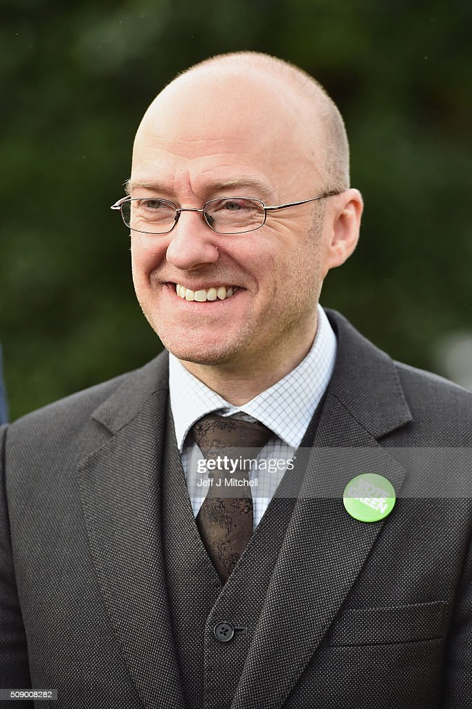 Patrick Harvie, co-convener of the Scottish Green Party attends the launch of the Scottish Holyrood election campaign with election candidates on February 8, 2016 in Glasgow, Scotland. Green co-convener Patrick Harvie was joined by candidates from various regions as they launched their campaign using the the slogan 'Scotland can' the party will centre its Scottish Parliament election campaign on six key policies.