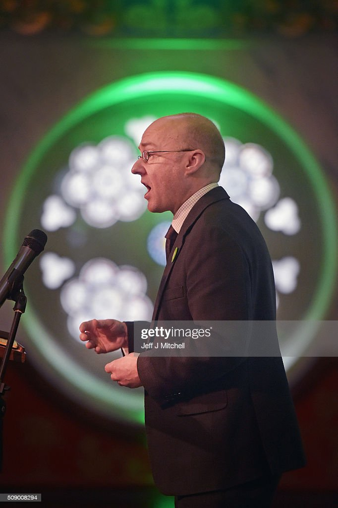 Patrick Harvie, co-convener of the Scottish Green Party speaks at the launch of the Scottish Holyrood election campaign with election candidates on February 8, 2016 in Glasgow, Scotland. Green co-convener Patrick Harvie was joined by candidates from various regions as they launched their campaign using the the slogan 'Scotland can' the party will centre its Scottish Parliament election campaign on six key policies.