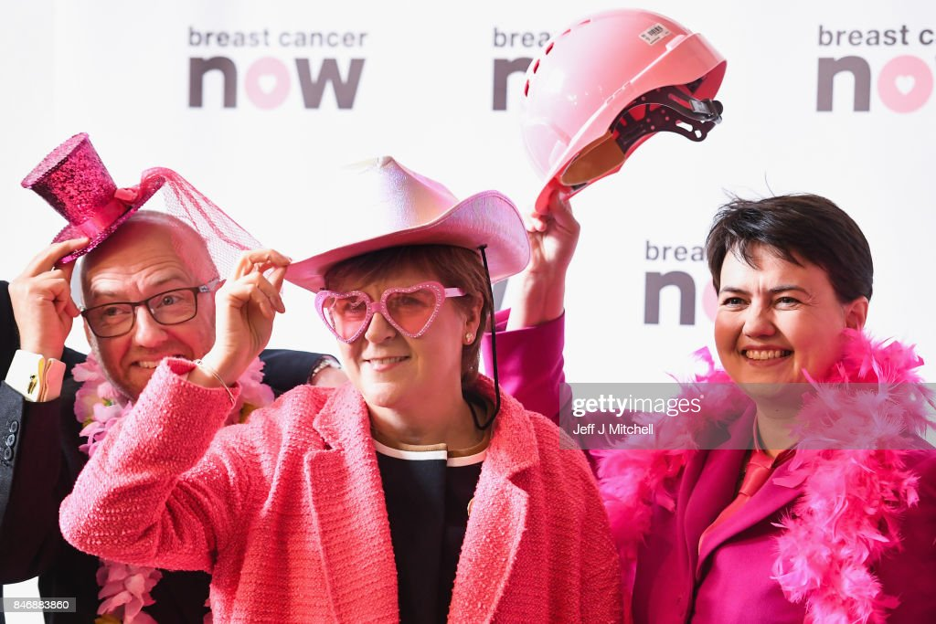 Patrick Harvie, co-convenor of the Scottish Green Party,First Minister Nicola Sturgeon,Ruth Davidson, leader of the Scottish Conservatives, pose for a picture in support of Breast Cancer Now on September 14, 2017 in Edinburgh, Scotland. Scottish political party leaders have joined forces in support of women with breast cancer to encourage Scots to take part in Breast Cancer Now's 'Wear it Pink' fundraiser.