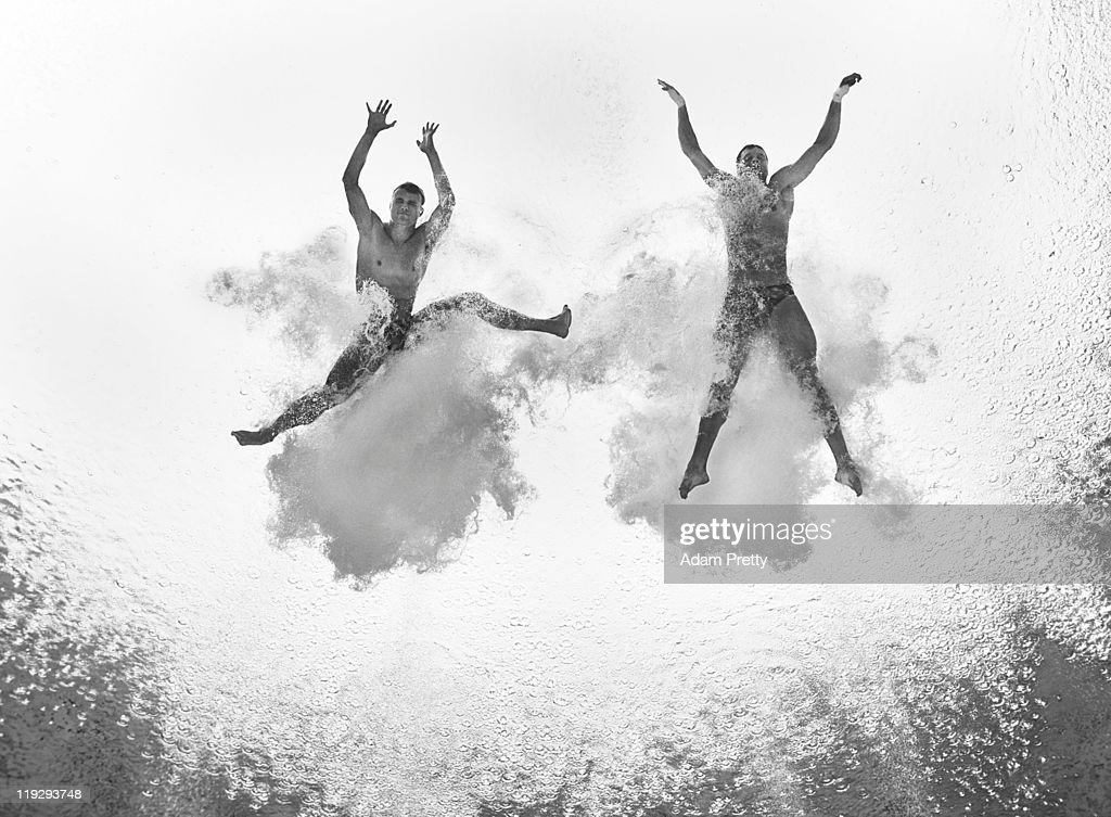 Patrick Hausding and Sascha Klein of Germany compete in the Men's 10m Platform Synchro preliminary round during Day Two of the 14th FINA World Championships at the Oriental Sports Center on July 17, 2011 in Shanghai, China.