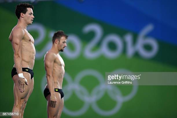 Patrick Hausding and Sascha Klein of Germany compete in the Men's Diving Synchronised 10m Platform Final on Day 3 of the Rio 2016 Olympic Games at...