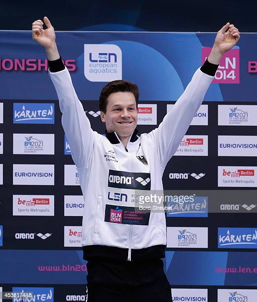 Patrick Hausding of Germany celebrates after winning the gold medal after in the men's 1m springboard final during day seven of the 32nd LEN European...