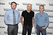 Patrick Healy Mark Strong and Ivo van Hove attend TimesTalks Presents 'A View From The Bridge' at Times Center on November 23 2015 in New York City