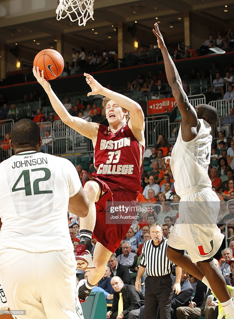 Patrick Heckmann #33 of the Boston College Eagles drives to the basket against the Miami Hurricanes during second half action on February 5, 2013 at the BankUnited Center in Coral Gables, Florida. The Hurricanes defeated the Eagles 72-50.