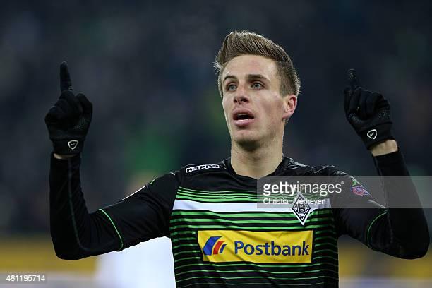 Patrick Hermann of Borussia Moenchengladbach celebrates as he scores during the UEFA Europa League match between VfL Borussia Moenchengladbach and FC...
