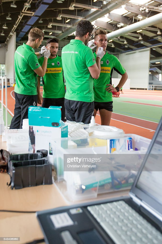 Patrick Herrmann and Julian Korb of Borussia Moenchengladbach during a Lactate Test in Duesseldorf on June 28, 2016 in Moenchengladbach, Germany.