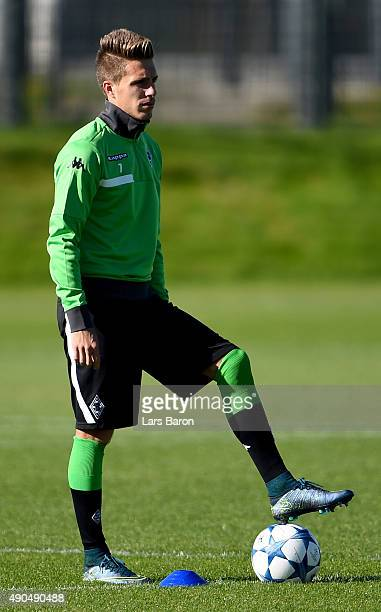 Patrick Herrmann is seen during a Borussia Moenchengladbach training session on the eve of the UEFA Champions League groupe D match against...
