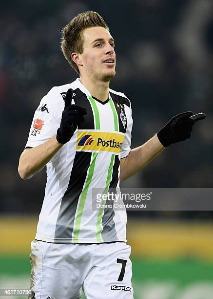 Patrick Herrmann of Borussia Moenchengladbach celebrates as he scores the opening goal during the Bundesliga match between Borussia Moenchengladbach...