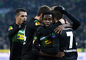 Patrick Herrmann of Borussia Moenchengladbach celebrates with team mates as he scores the opening goal during the UEFA Europa League group stage...