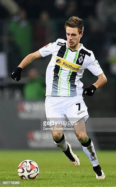 Patrick Herrmann of Borussia Moenchengladbach controls the ball during the Bundesliga match between Borussia Moenchengladbach and SC Freiburg at...