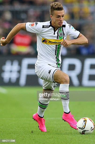 Patrick Herrmann of Borussia Moenchengladbach controls the ball during the Bundesliga match between Borussia Dortmund and Borussia Moenchengladbach...