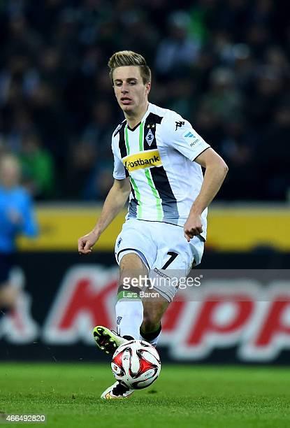 Patrick Herrmann of Borussia Moenchengladbach runs with the ball during the Bundesliga match between Borussia Moenchengladbach and Hannover 96 at...
