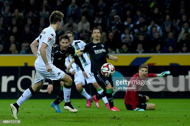 Patrick Herrmann of Borussia Moenchengladbach scoes his teams second goal during the Bundesliga match between Borussia Moenchengladbach and Hannover...