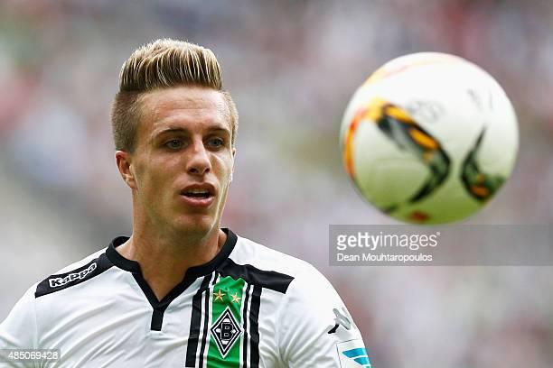 Patrick Herrmann of Borussia Monchengladbach in action during the Bundesliga match between Borussia Moenchengladbach and 1 FSV Mainz 05 held at...