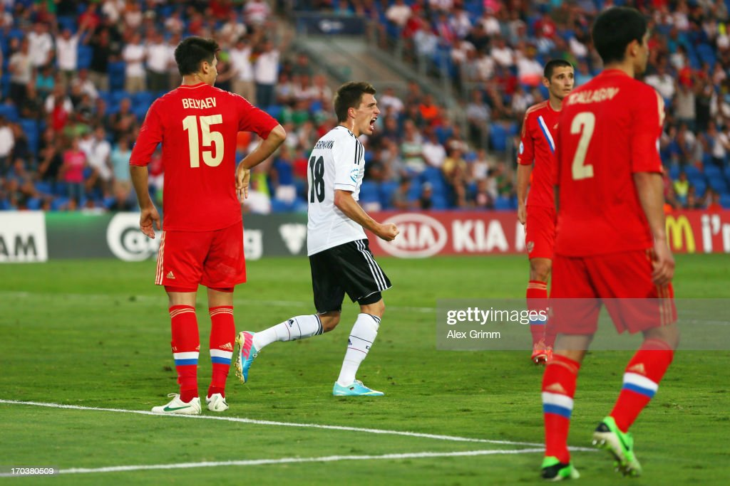 Patrick Herrmann of Germany celebrates his team's first goal during the UEFA European U21 Championship Group B match between Russia and Germany at Netanya Stadium on June 12, 2013 in Netanya, Israel.