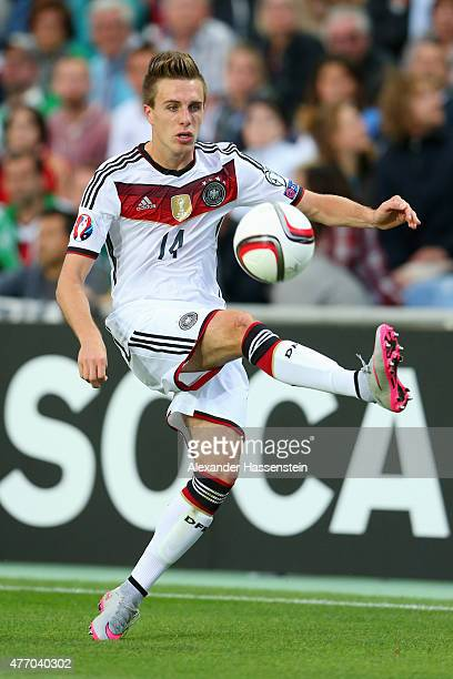 Patrick Herrmann of Germany runs with the ball during the UEFA EURO 2016 Qualifier Group D match between Gibraltar and Germany at Estadio Algarve on...