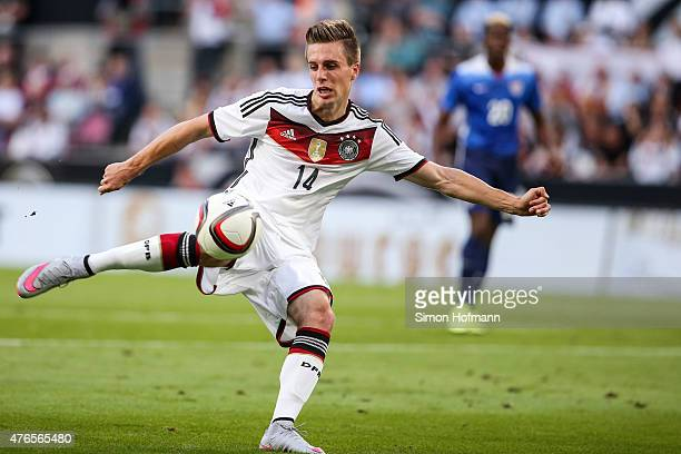 Patrick Herrmann of Germany tries to score during the International Friendly match between Germany and USA at RheinEnergieStadion on June 10 2015 in...