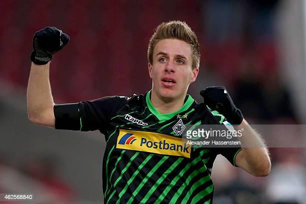 Patrick Herrmann of Gladbach celebrates scoring the opening goal during the Bundesliga match between VfB Stuttgart and Borussia Moenchengladbach at...