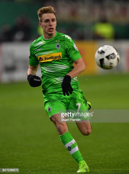Patrick Herrmann of Gladbach in action during the DFB Cup quarter final between Hamburger SV and Borussia Moenchengladbach at Volksparkstadion on...