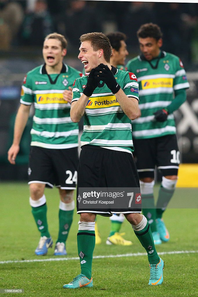Patrick Herrmann of Moenchengladbach celebrates after the UEFA Europa League group C match between Borussia Moenchengladbach and AEL Limassol FC at Borussia Park Stadium on November 22, 2012 in Moenchengladbach, Germany. The match between Moenchengladbach and Limassol ended 2-0.