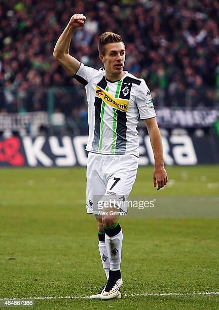 Patrick Herrmann of Moenchengladbach celebrates his team's second goal during the Bundesliga match between Borussia Moenchengladbach and SC Paderborn...