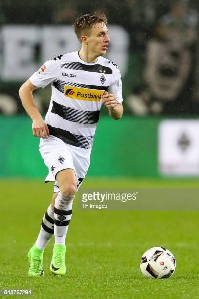Patrick Herrmann of Moenchengladbach controls the ball during the Bundesliga match between Borussia Moenchengladbach and FC Schalke 04 at...