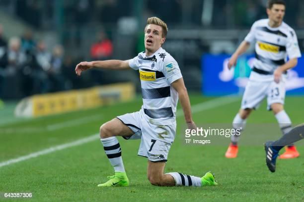 Patrick Herrmann of Moenchengladbach looks on during the Bundesliga match between Borussia Moenchengladbach and RB Leipzig at BorussiaPark on...