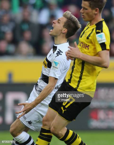 Patrick Herrmann of Moenchengladbach looks on during the Bundesliga match between Borussia Moenchengladbach and Borussia Dortmund at BorussiaPark on...
