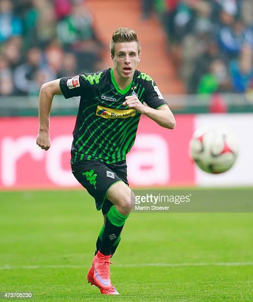 Patrick Herrmann of Moenchengladbach plays the ball during the Bundesliga match between SV Werder Bremen and Borussia Moenchengladbach at...