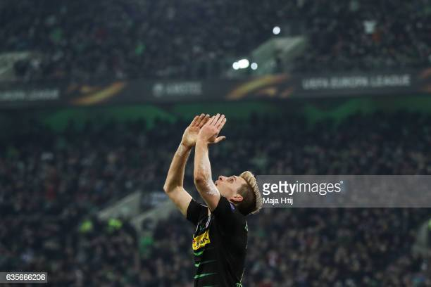 Patrick Herrmann of Moenchengladbach reacts during the UEFA Europa League Round of 32 first leg match between Borussia Moenchengladbach and ACF...
