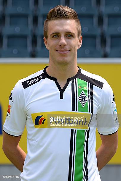 Patrick Herrmann poses during the team presentation of Borussia Moenchengladbach at BorussiaPark on July 10 2015 in Moenchengladbach Germany