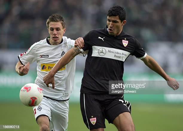 Patrick Herrmann und Maza Rodriguez fight for the ball during the Bundesliga match between Borussia Moenchengladbach and VfB Stuttgart at Borussia...