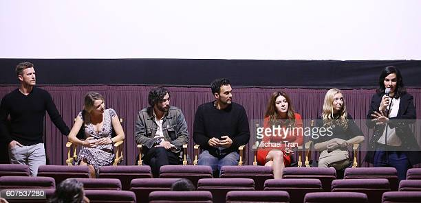 Patrick Heusinger Collette Wolfe John Patrick Amedori Cheyenne Jackson Elena Satine Hana Hayes and Daniela Amavia onstage during the screening of...