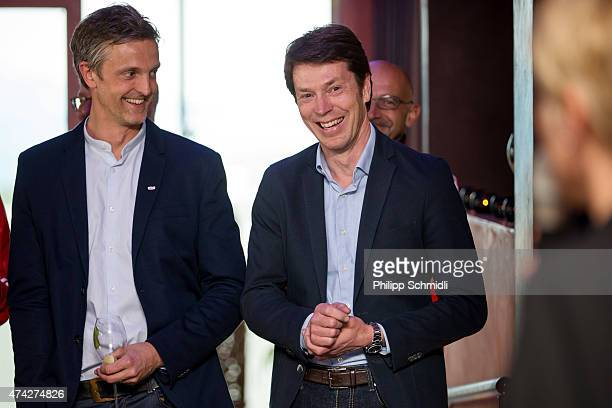 Patrick Holmgren of Infront and Alexander Pieper of Henkel attend a meet and greet sponsors barbecue at the Germany women's training camp on May 21...