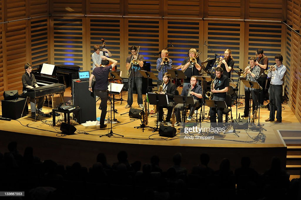 Patrick Hurley, Harrison Wood, Ben Cottrell, Tim Cox, Simon Lodge, Ben Watte, Paul Strachan, Sam Healey, Anthony Brown, Nick Walters, Owen Bryce, Harrison Wood and Graham South of Beats & Pieces Big Band perform on stage at Kings Place during Day 9 of the London Jazz Festival 2011 on November 19, 2011 in London, United Kingdom.