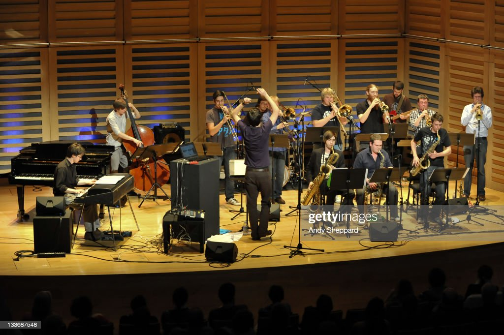 Patrick Hurley, Harrison Wood, Tim Cox, Ben Cottrell, Finlay Panter, Paul Strachan, Ben Watte, Nick Walters, Sam Healey, Anton Hunter, Owen Bryce, Anthony Brown and Graham South of Beats & Pieces Big Band perform on stage at Kings Place during Day 9 of the London Jazz Festival 2011 on November 19, 2011 in London, United Kingdom.