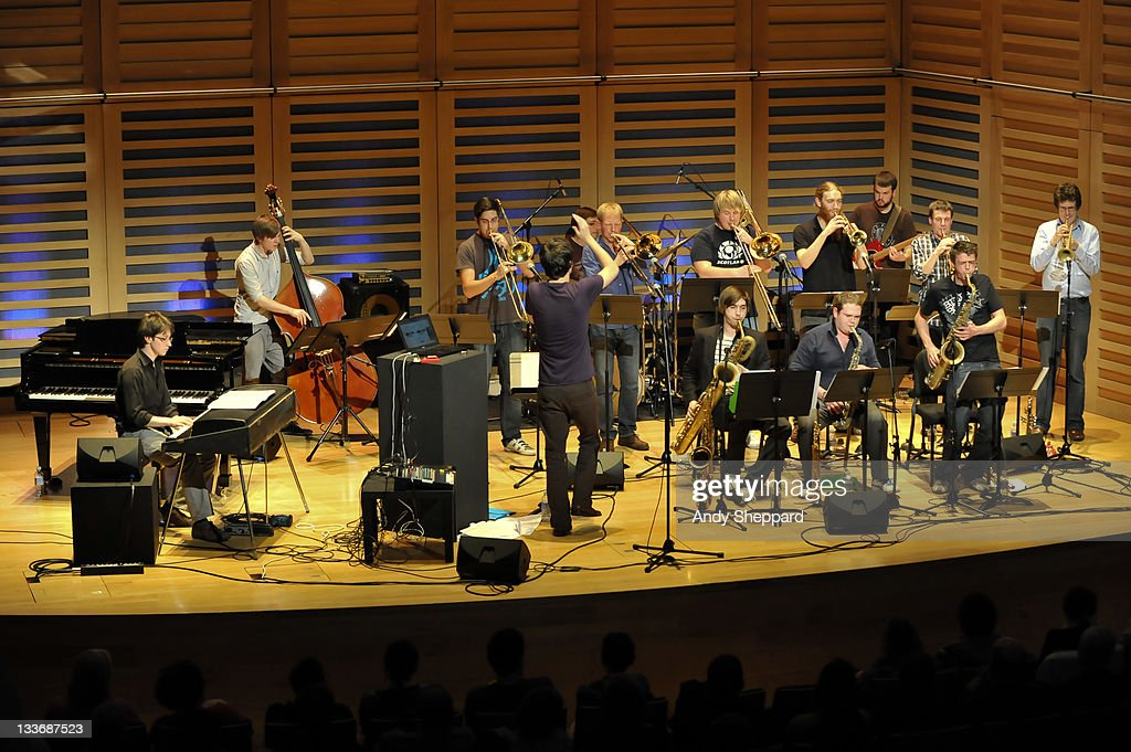 Patrick Hurley, Harrison Wood, Tim Cox, Ben Cottrell, Simon Lodge, Paul Strachan, Ben Watte, Nick Walters, Sam Healey, Anton Hunter, Owen Bryce, Anthony Brown and Graham South of Beats & Pieces Big Band perform on stage at Kings Place during Day 9 of the London Jazz Festival 2011 on November 19, 2011 in London, United Kingdom.