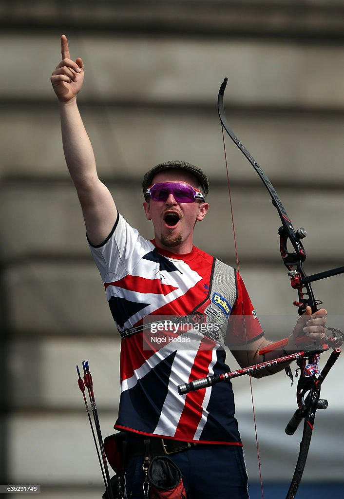 Patrick Huston of Britain celebrates after the Men's Recurve Bronze medal match at the European Archery Championship on May 29, 2016 in Nottingham, England.