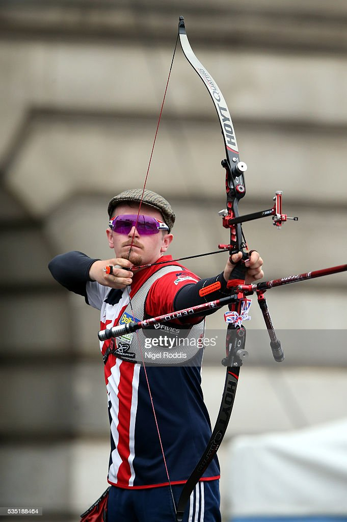 Patrick Huston of Great Britain shoots during the Men's Recurve Gold medal team match at the European Archery Championship on May 29, 2016 in Nottingham, England.